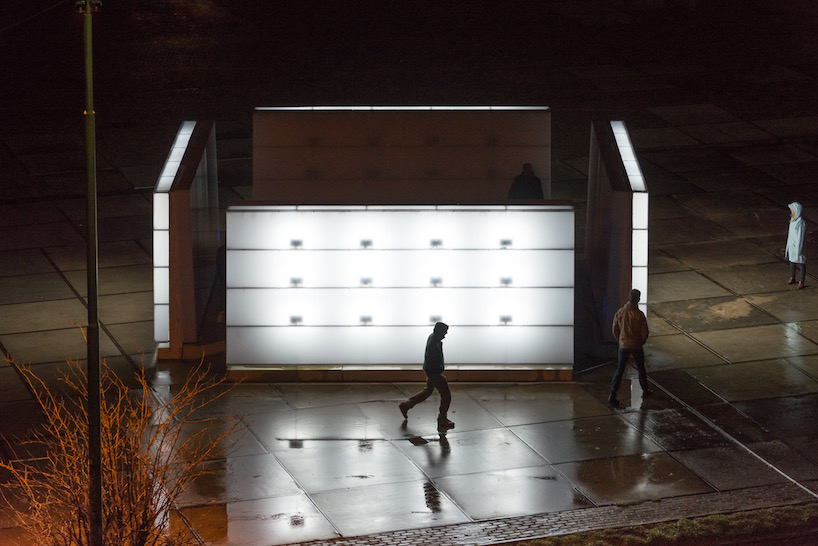 light installation by polylester flickers across amsterdam's ndsm wharf